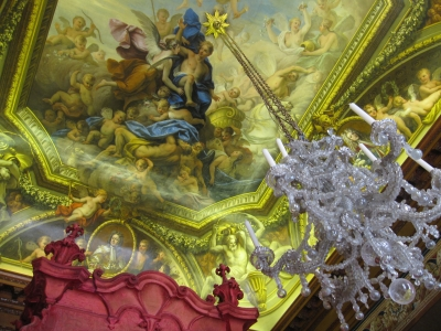 Mural on the ceiling of the Queen's Bedchamber - photo by Rob McFarland