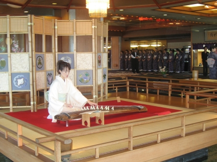 Traditional Japanese string instrument in hotel foyer - photo by Rob McFarland