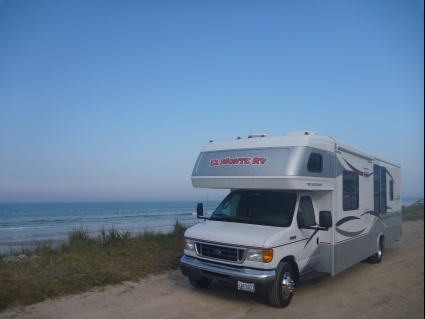 RV parked by a beach in Florida - photo by Rob McFarland