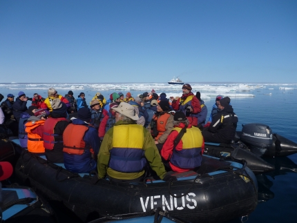 Zodiac excursion in the Arctic - photo by Rob McFarland