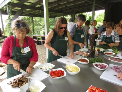 Preparing toppings in Freestyle Escape's outdoor kitchen - photo by Rob McFarland